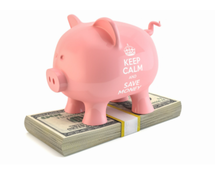 Picture pink piggy bank standing on strap of money.